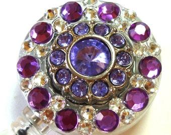 Purple Amethyst Rhinestone and Swarovski Crystal Embellished ID Badge Reel