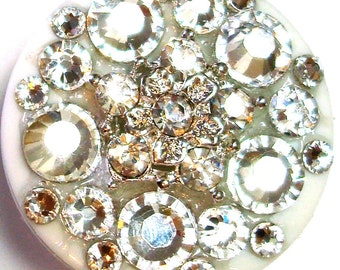 Clear Rhinestone Button and Swarovski Crystal Embellished Id Badge Reel