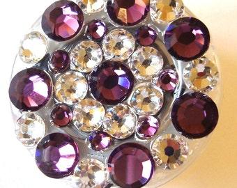 Swarovski Crystal Amethyst Purple Embellished Retractable Name Tag Holder ID Badge Reel