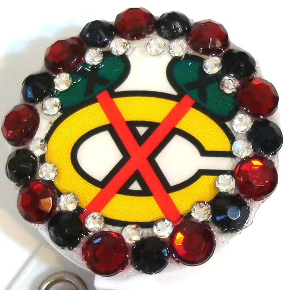 Chicago Blackhawks Rhinestone and Swarovski Crystal Embellished ID Badge Reel
