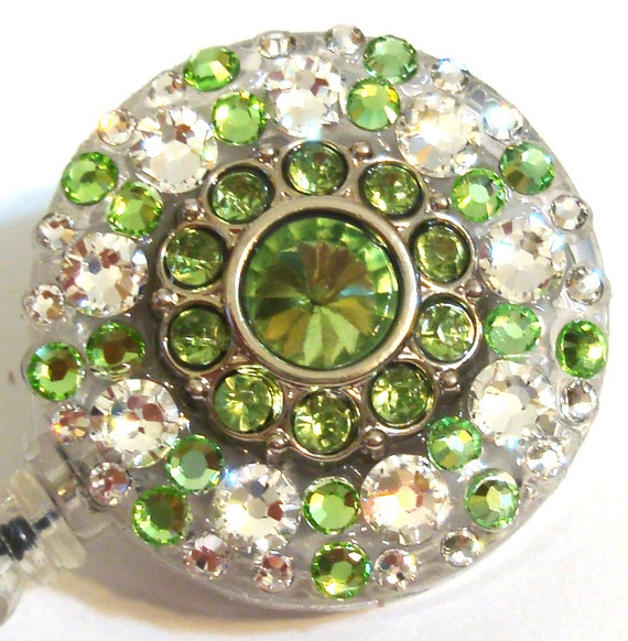 Light Green Rhinestone and Swarovski Crystal Embellished Swivel-Back ID Badge Reel