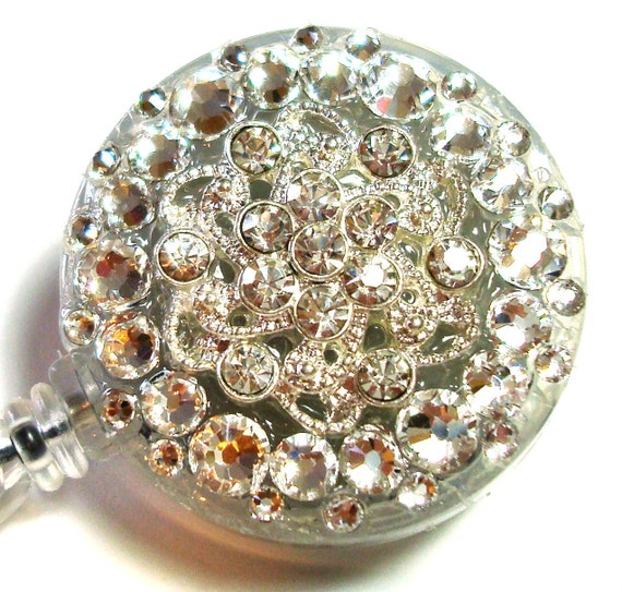 Clear Crystal Vintage-Style Swarovski Crystal Embellished Swivel-Back ID Badge Reel