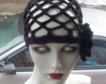 Hand Crochet Black Juliet Cap with Flower - Your Choice of Color - FREE US SHIPPING