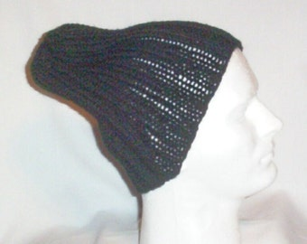 Hand Knit Men's Ribbed Opie Hat Slouchy SOA Black - Made 2 Order - Free US Shipping
