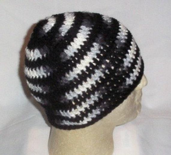 Hand Crochet - Mens Skull Cap Beanie Hat Skater Emo Goth - Black ...