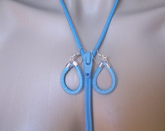 Zipper Necklace With Matching Earrings