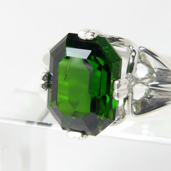 emerald cut chrome diopside sterling silver ring