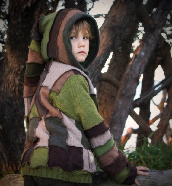"""RESERVED  imaginecreations Boys Gypsy Coat  """"The WooDLaND eLF""""  Hoodie.  Children sizes  7"""