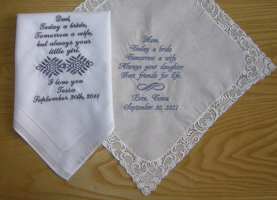Custom Personalised Wedding Handkerchief Set of 2 With Your Own Personalization