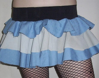 Blue and White Alice in Wonderland Cosplay Puffle Skirt