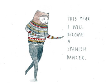 Art Print. 'Spanish Dancer' Illustration.