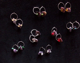 sterling silver hoop earrings with wampum bead