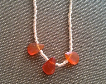 Carnelian 3 Teardrop & Seed Beads Necklace that is 16 inches in Length