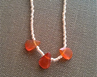BOXING DAY PRICED Carnelian 3 Teardrop & Seed Beads Necklace that is 16 inches in Length