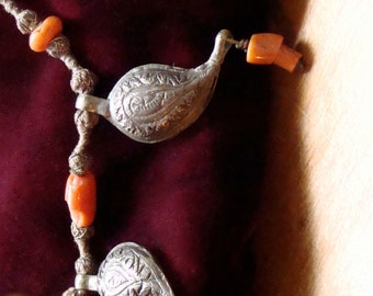 Coral and Sterling Silver Hand Hammered Bedouin necklace from Morocco Beads on Thread Traditional
