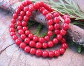 Red Coral 3.5mm Gemstone Round Beads