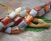 Gray and Red Carnelian Semi Precious Rectangles