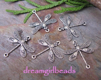 2 PC Antiqued Silver Delicate Dragonfly Connectors