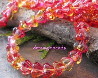 Czech Glass Bell Flowers in Fuchsia Lemon 8/6mm Dual Coated