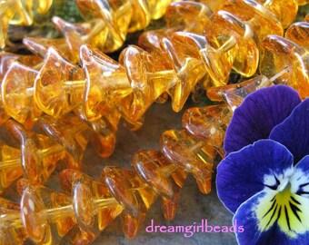 Orange Crush Three Petal Czech Glass Flower Beads