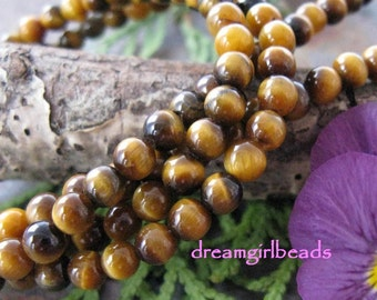 Natural Tiger Eye Semi Precious 4mm Beads