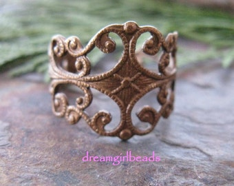 2 Trinity Vintage Patina Filigree Ring