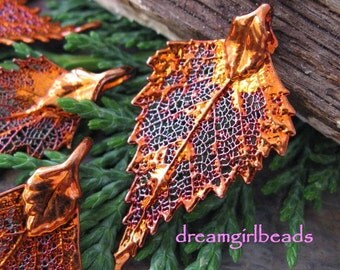 Iridescent Copper Dipped Birch Leaf Pendant, Ornament , Charm