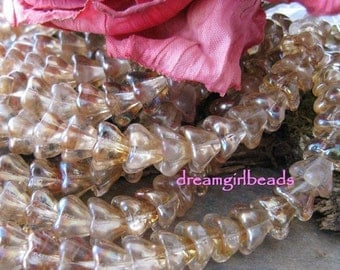 Sweet Tea Sparkle Bell Flower Beads