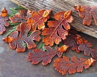 Iridescent Copper Lacey Oak Leaf Pendant, Charm, ornament