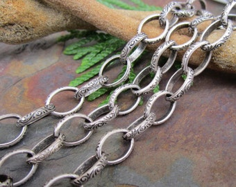 3FT Antique Silver Celtic Etched Oval Chain