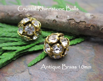 2 Crystal 8mm Rhinestone Balls in Antique Brass
