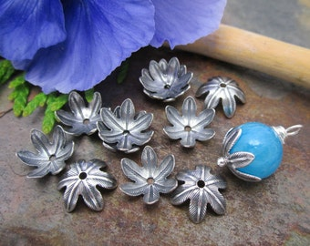 4 PC Antique Silver Blooming Petal 10mm Bead Caps