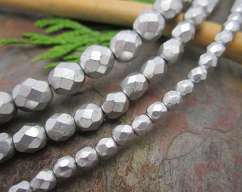 Matte Silver Faceted Firpolished 6mm Beads