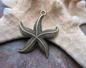 4 pc Vintage Look Antique Brass Tone Starfish