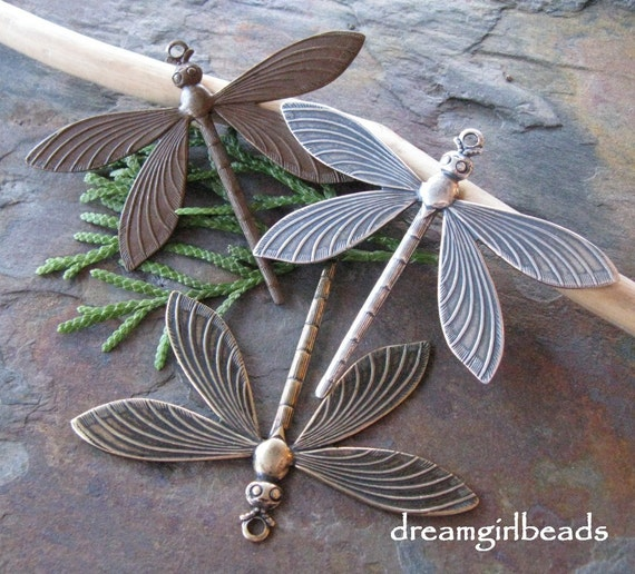 Victorian Dragonfly Pendant in Antique Silver from Trinity Brass