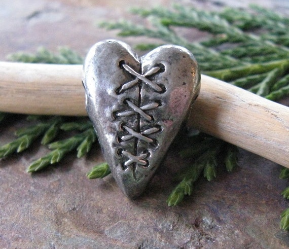 Laced Heart Bead Pendant from Green Girl Studios