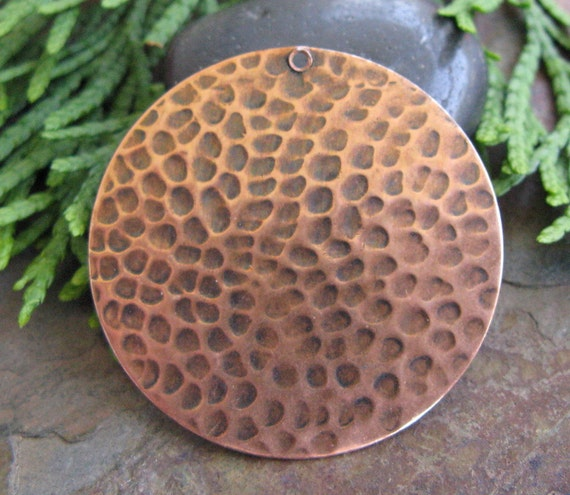 2 Antique Copper 35mm Hammered Circle Pendants