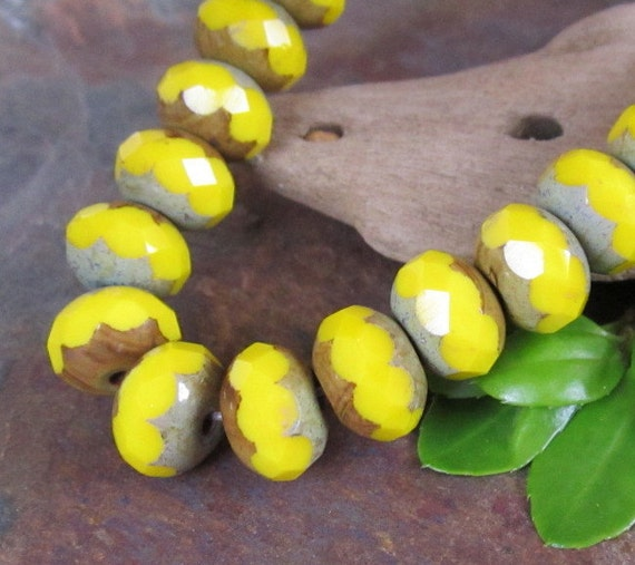 Canary Yellow Faceted 6x9mm Beads