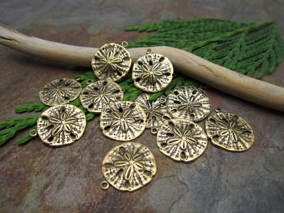 6 PC Antiqued Gold Sand Dollar Charms