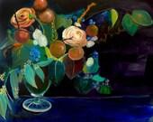40% Off SALE - Acrylic Painting Print - Floral Still Life Art - Whole - 11x14 Print - Floral arrangement s