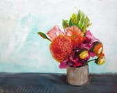 Acyrlic Painting - Summer Bouquet - 8x10 Print of Original Painting - Dahlia with flowers - Bright and Colorful Impressionist Still Life