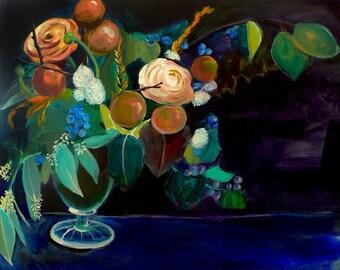 60% Off SALE - Acrylic Painting Print - Floral Still Life Art - Whole - 11x14 Print - Floral arrangement s