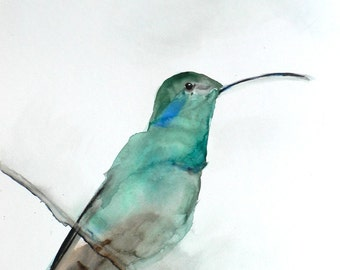 60% Off SALE - Gift for Her - Hummingbird Art Print - Wall Decor - August - Large 16x20 Print - Hummingbird Watercolor