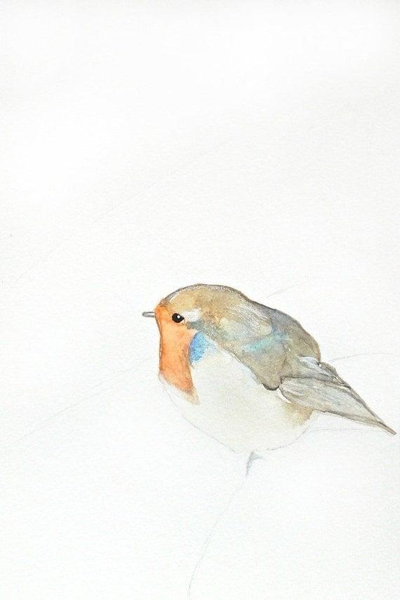 Hush Now - Limited Edition - Print 7/50 - 5x7 Giclee Print - Bird Watercolor Print