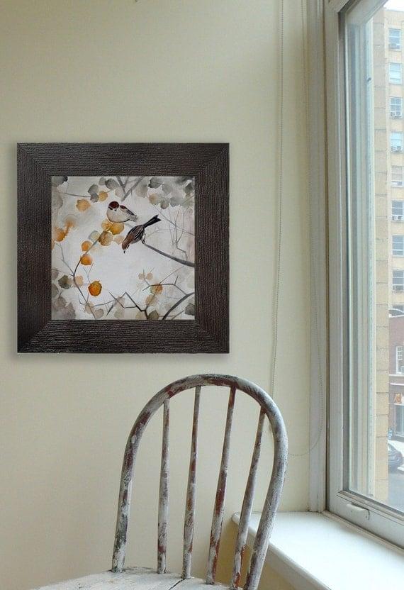 Wall Decor - Asian Inspired Art - Fall Leaves Decor - Living Room Home Decor - Bird Art - Fall - Large 16x16 Print - Poster