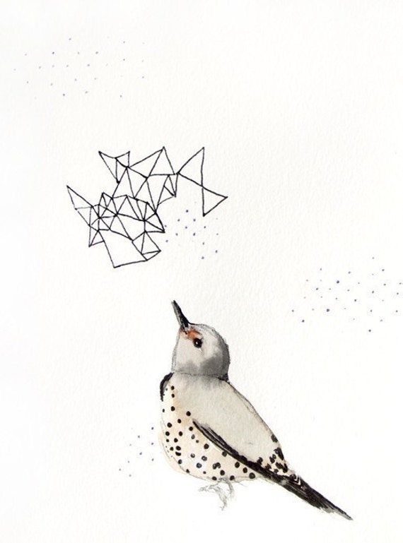 50% Off SALE - Pen and Ink Illustration - Bird Art Drawing - Northern Flicker - Second Edition - 8x10 Giclee Print - Bird with Prisms Illust