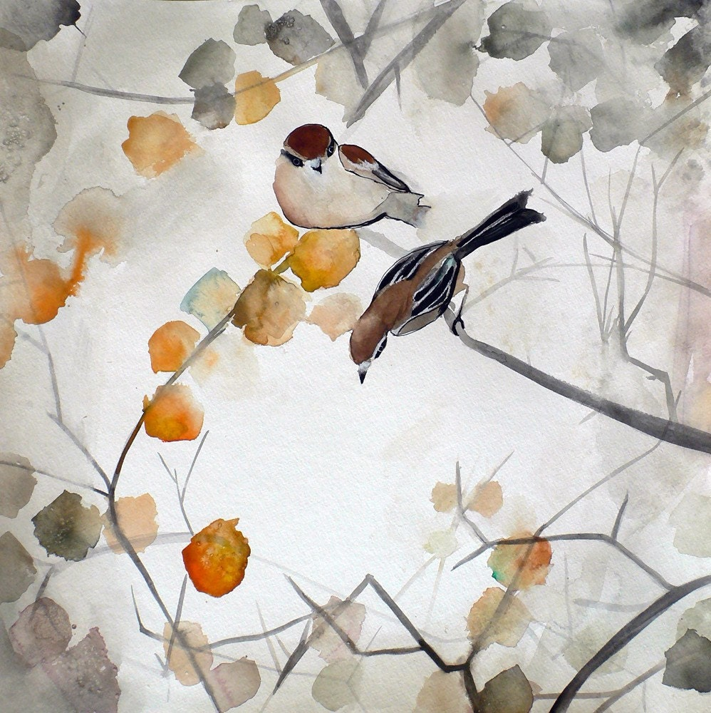 Items similar to Rising Fall - Art Print watercolor autumn ... |Fall Bird Paintings