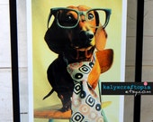 Dachshund Print Photography- Mid Century Mad Dog