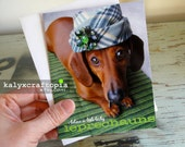 St Patrick's Day Card - I Believe in Lucky Little Leprechauns Dachshund