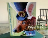 Dachshund Easter Card - Here Comes Peter Cottontail Mad Hatter Easter